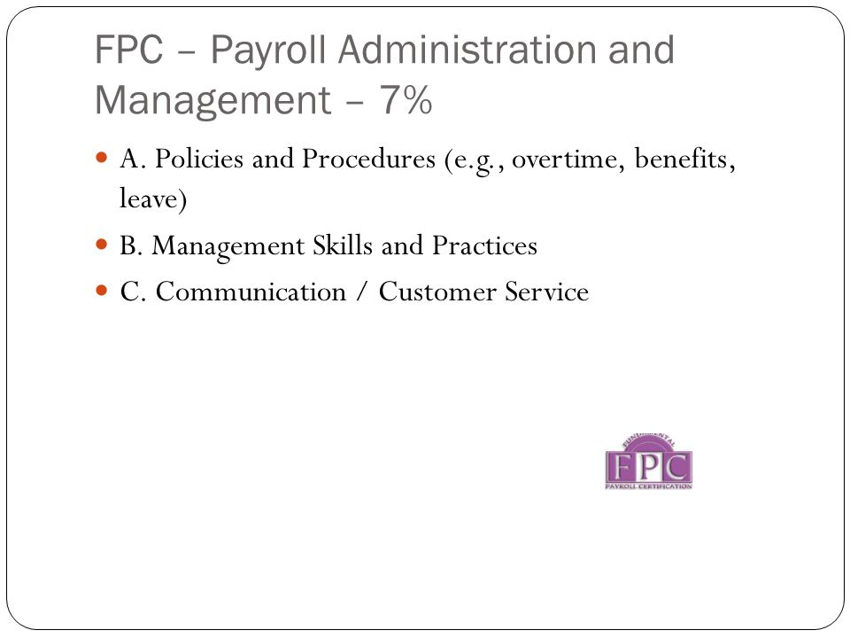 FPC – Payroll Administration and Management – 7% A.