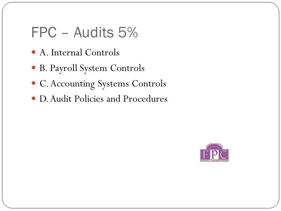 FPC – Audits 5% A. Internal Controls B. Payroll System Controls C.