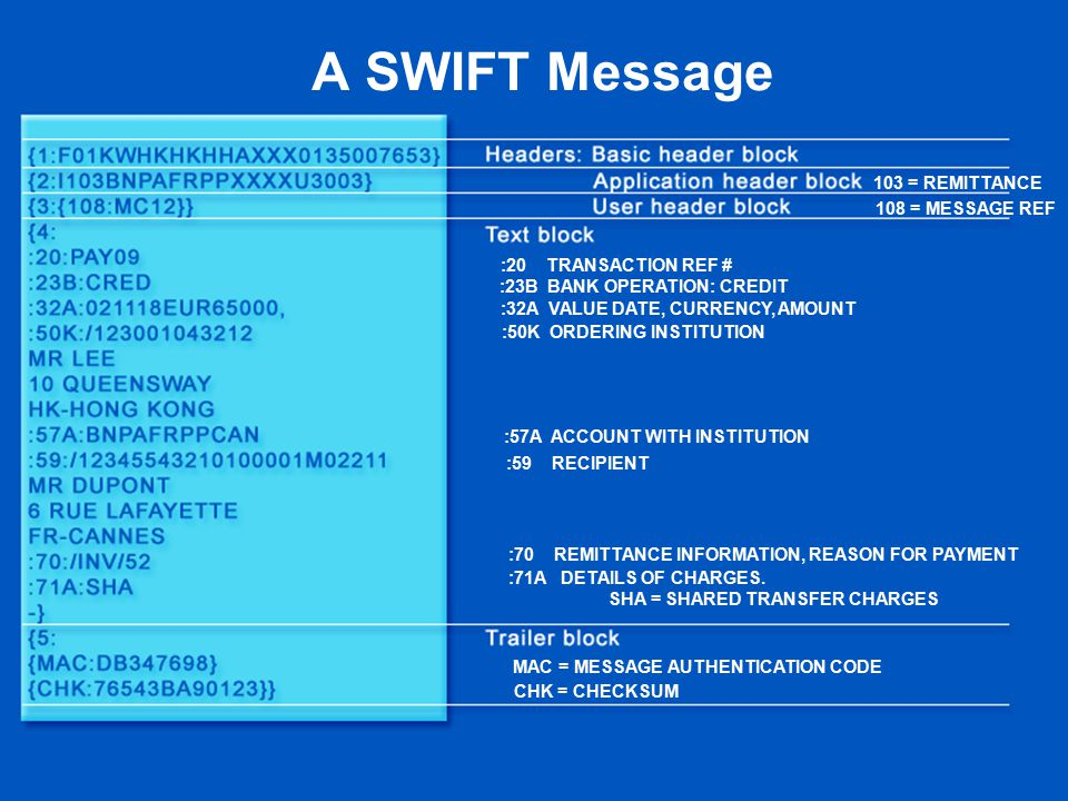 A SWIFT Message :50K ORDERING INSTITUTION :32A VALUE DATE, CURRENCY, AMOUNT :23B BANK OPERATION: CREDIT :20 TRANSACTION REF # :57A ACCOUNT WITH INSTITUTION :59 RECIPIENT :70 REMITTANCE INFORMATION, REASON FOR PAYMENT :71A DETAILS OF CHARGES.