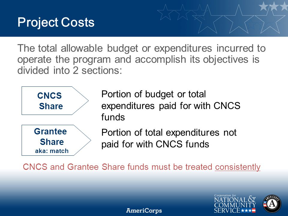 Project Costs The total allowable budget or expenditures incurred to operate the program and accomplish its objectives is divided into 2 sections: CNCS Share Grantee Share aka: match Portion of total expenditures not paid for with CNCS funds Portion of budget or total expenditures paid for with CNCS funds CNCS and Grantee Share funds must be treated consistently