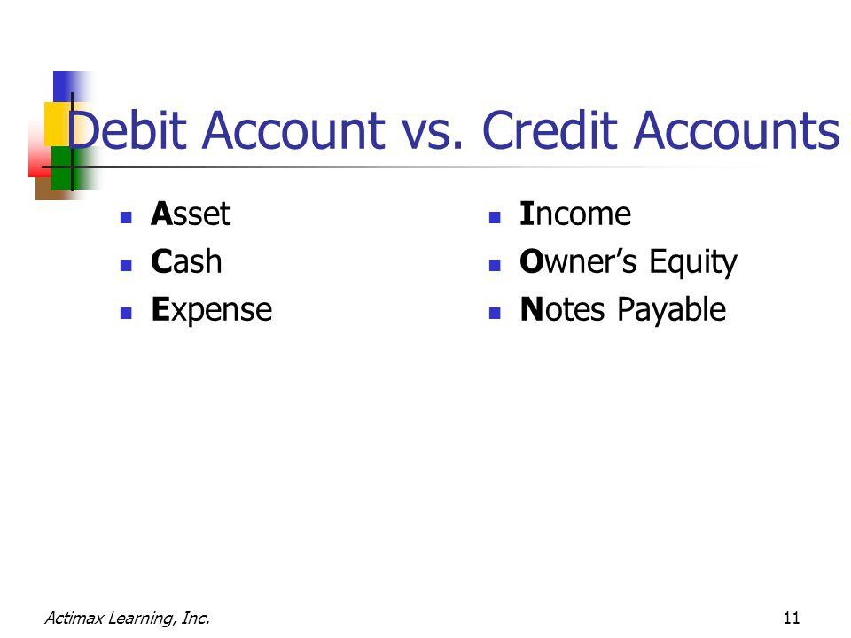 Debit Account vs.
