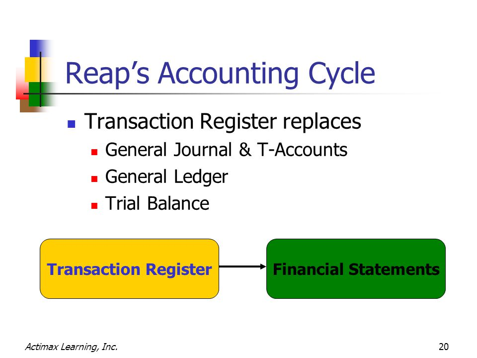 Actimax Learning, Inc.20 Reap's Accounting Cycle Transaction Register replaces General Journal & T-Accounts General Ledger Trial Balance Transaction R