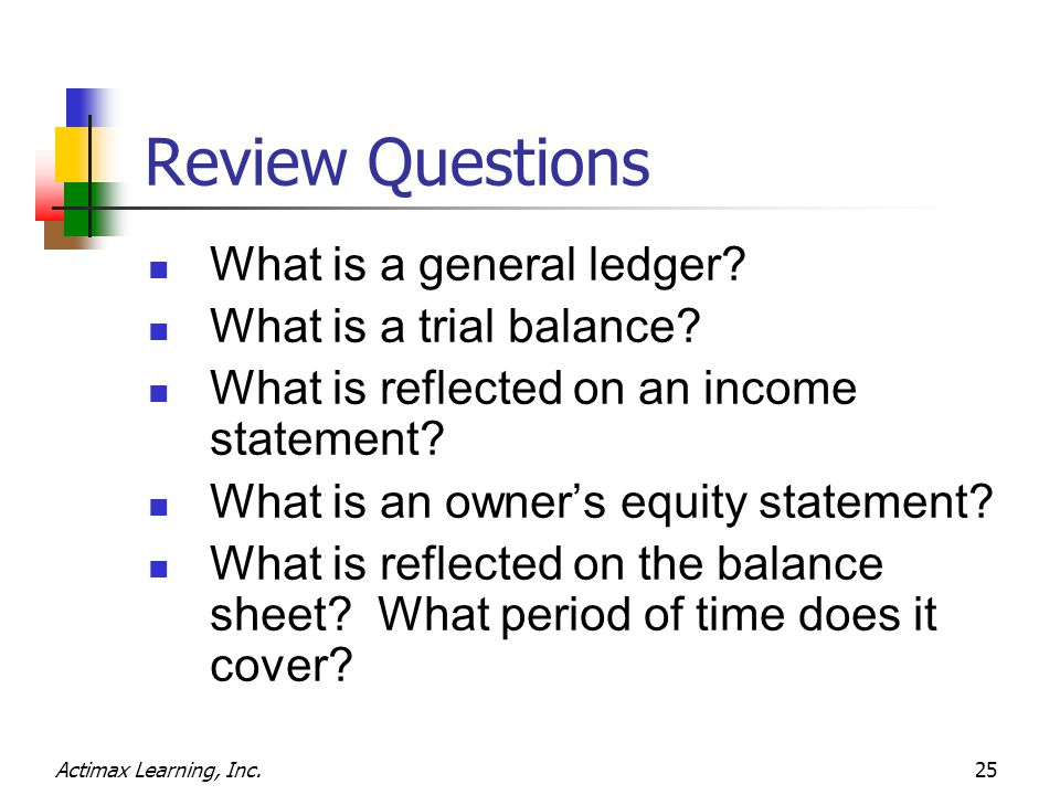 Actimax Learning, Inc.25 Review Questions What is a general ledger.