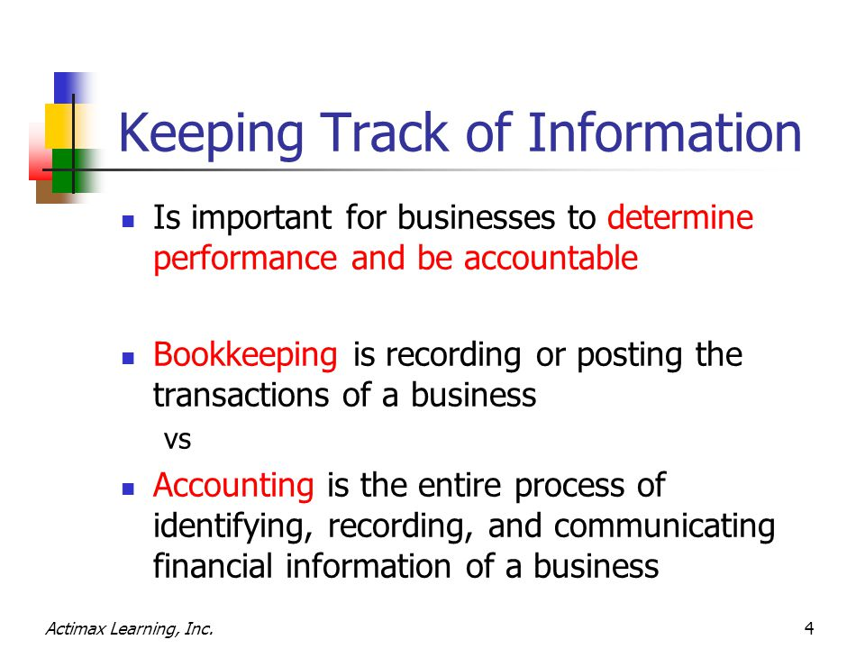 Actimax Learning, Inc.4 Keeping Track of Information Is important for businesses to determine performance and be accountable Bookkeeping is recording
