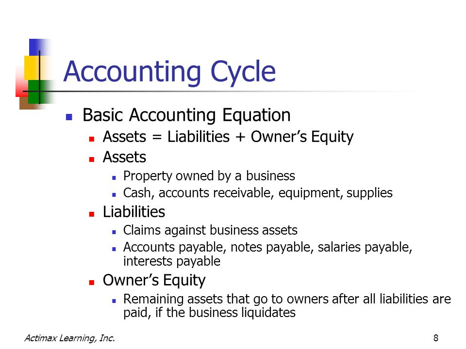 Actimax Learning, Inc.8 Accounting Cycle Basic Accounting Equation Assets = Liabilities + Owner's Equity Assets Property owned by a business Cash, acc