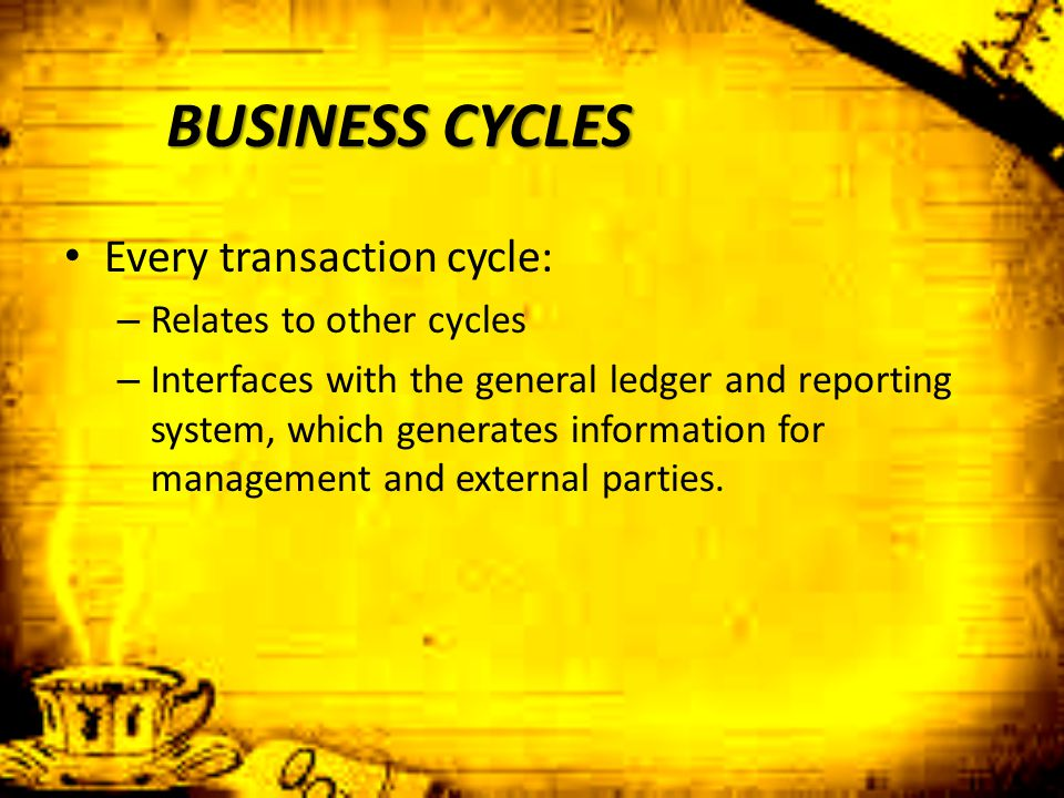 BUSINESS CYCLES Every transaction cycle: – Relates to other cycles – Interfaces with the general ledger and reporting system, which generates informat