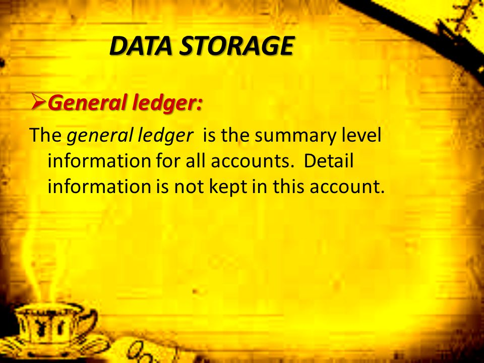 DATA STORAGE  General ledger: The general ledger is the summary level information for all accounts. Detail information is not kept in this account.