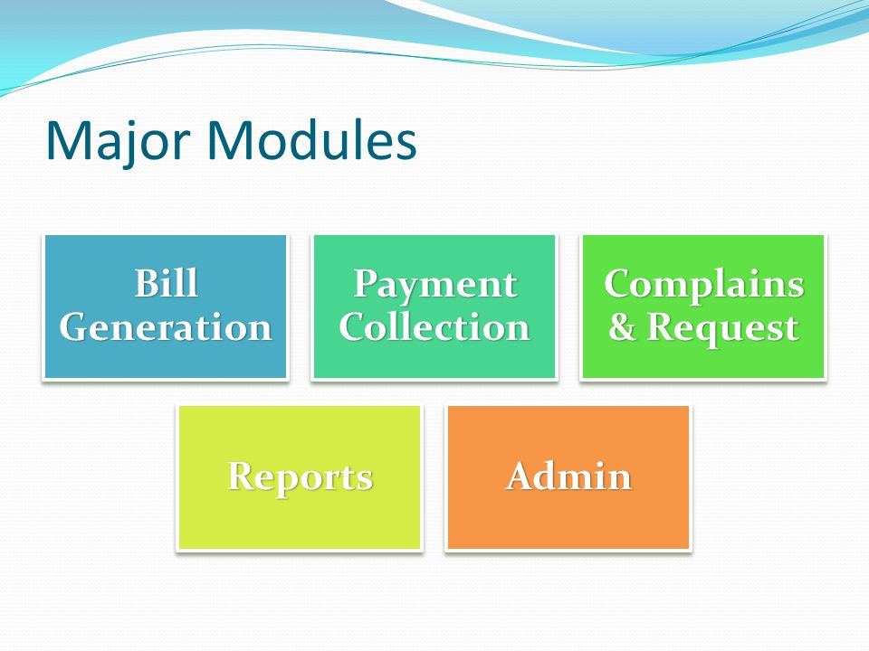 Major Modules Bill Generation Payment Collection Complains & Request ReportsAdmin