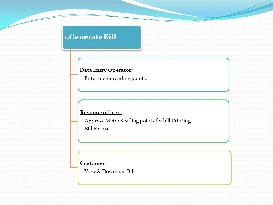 1.Generate Bill Data Entry Operator: - Enter meter reading points. Revenue officer : - Approve Meter Reading points for bill Printing. - Bill Format C
