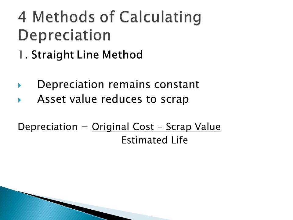 1. Straight Line Method  Depreciation remains constant  Asset value reduces to scrap Depreciation = Original Cost - Scrap Value Estimated Life