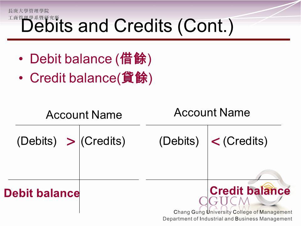 Debit balance ( 借餘 ) Credit balance( 貸餘 ) Account Name (Debits)(Credits) Account Name (Debits)(Credits) Debit balance Credit balance >< Debits and Credits (Cont.)