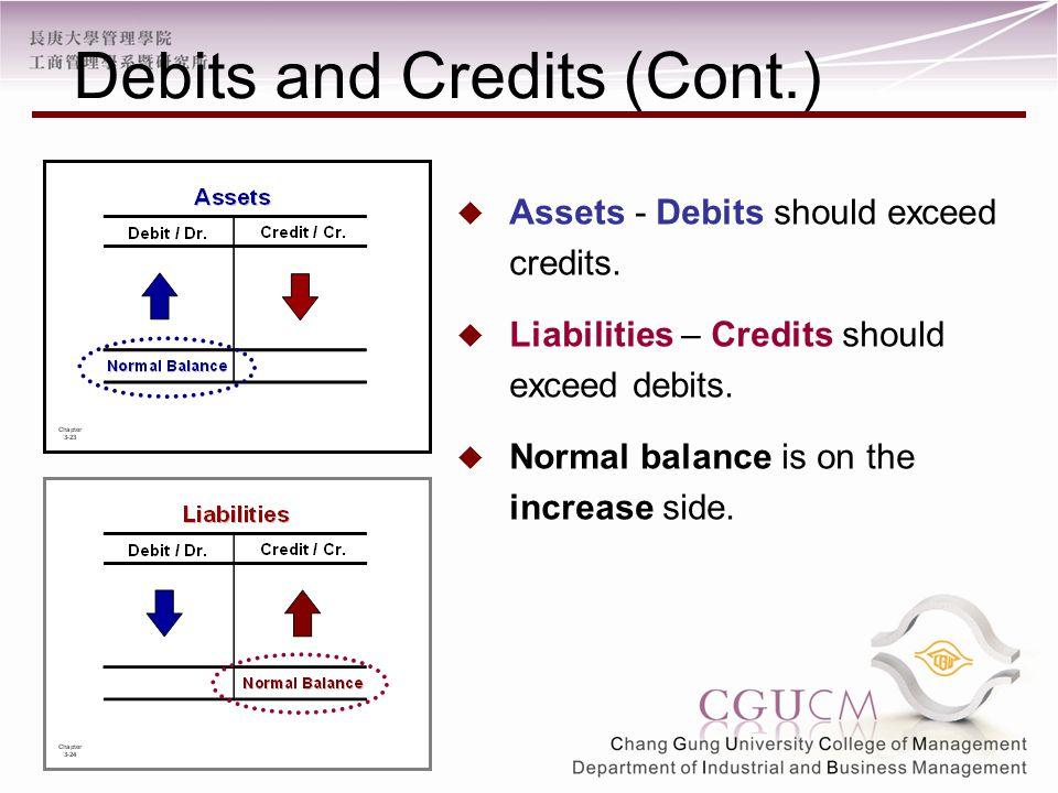  Assets - Debits should exceed credits.  Liabilities – Credits should exceed debits.