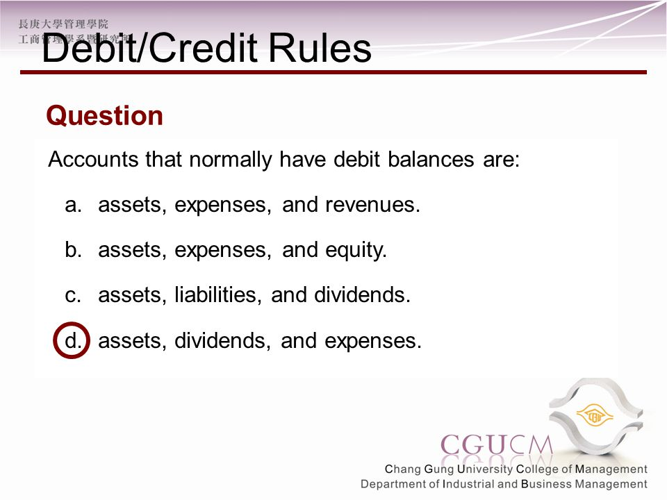 Accounts that normally have debit balances are: a.assets, expenses, and revenues.
