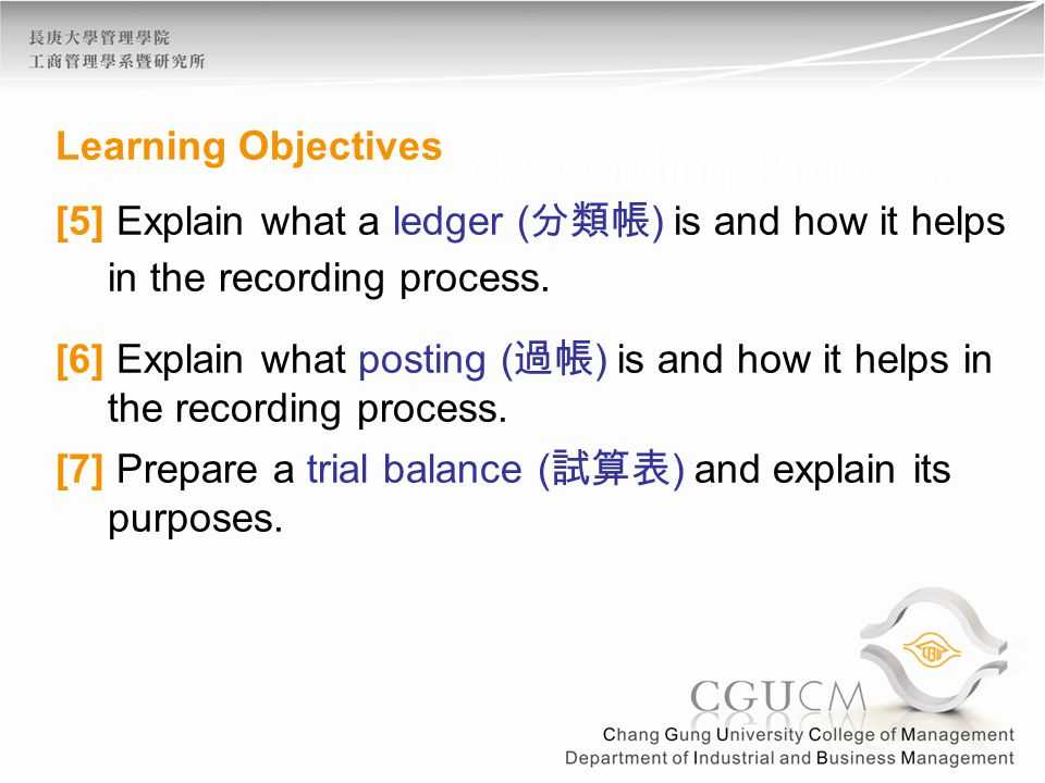 Chapter 2 The Recording Process Learning Objectives [5] Explain what a ledger ( 分類帳 ) is and how it helps in the recording process.