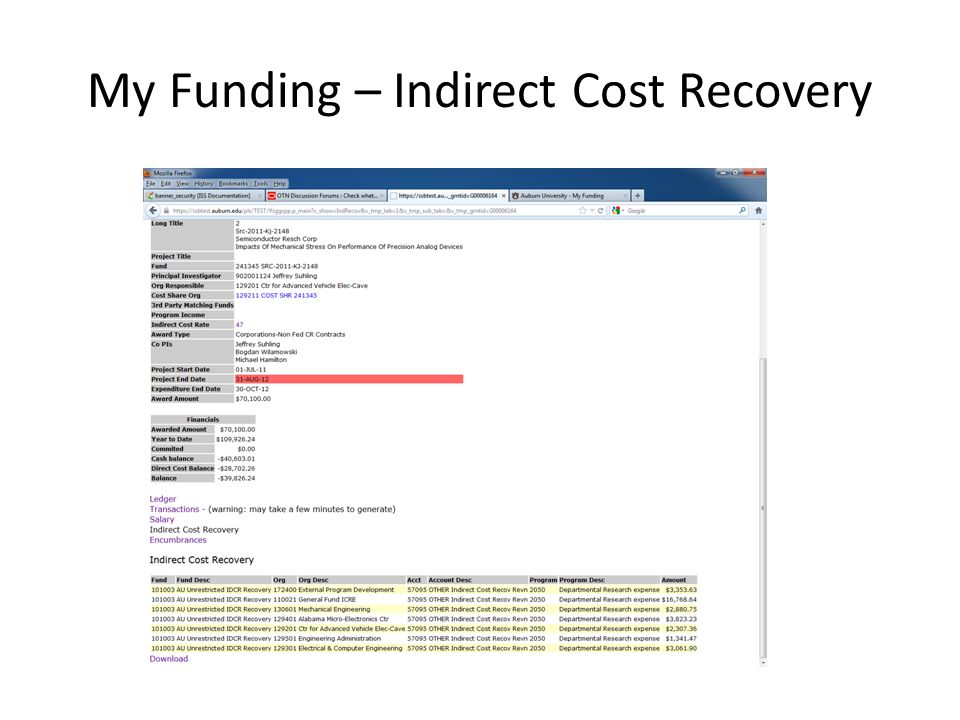 My Funding – Indirect Cost Recovery