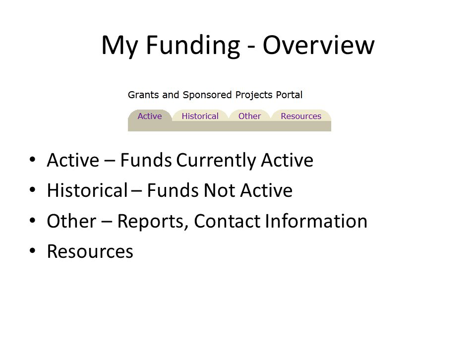 My Funding - Overview Active – Funds Currently Active Historical – Funds Not Active Other – Reports, Contact Information Resources