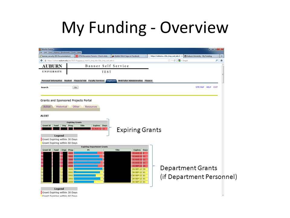 My Funding - Overview Expiring Grants Department Grants (if Department Personnel)