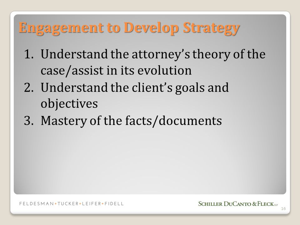 Engagement to Develop Strategy 1.Understand the attorney's theory of the case/assist in its evolution 2.Understand the client's goals and objectives 3.Mastery of the facts/documents 16