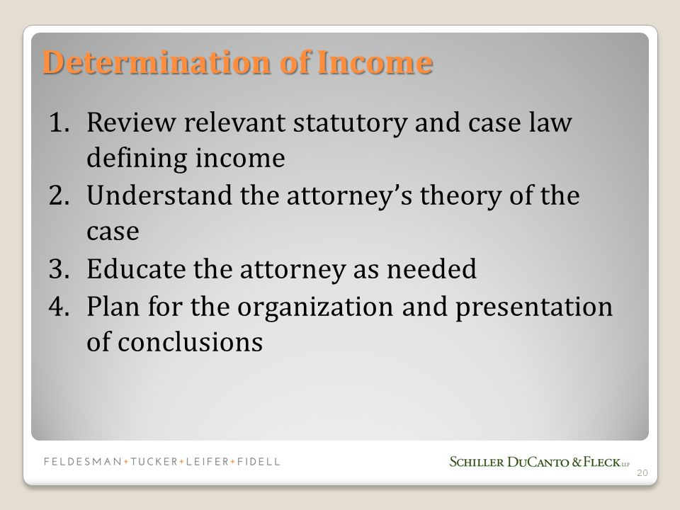 Determination of Income 1.Review relevant statutory and case law defining income 2.Understand the attorney's theory of the case 3.Educate the attorney as needed 4.Plan for the organization and presentation of conclusions 20