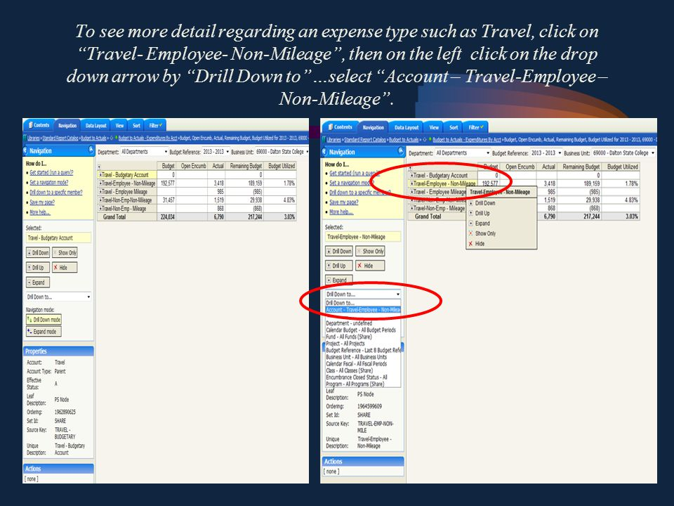 Click on Travel go to the left, click on the drop down arrow by Drill Down to …select Account – Travel .
