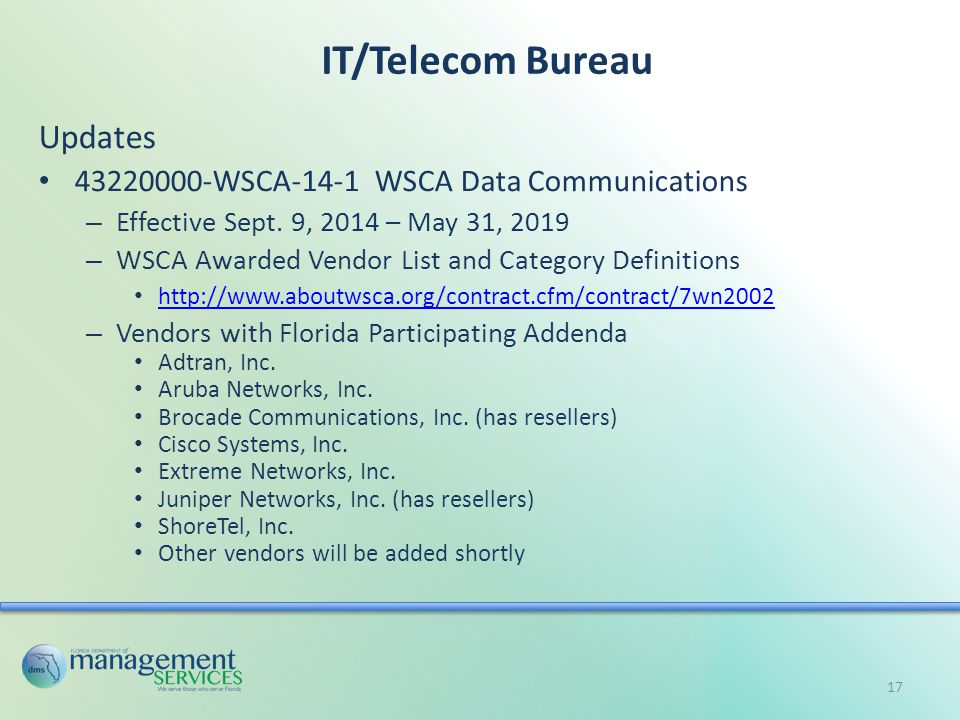 IT/Telecom Bureau Updates 43220000-WSCA-14-1 WSCA Data Communications – Effective Sept.