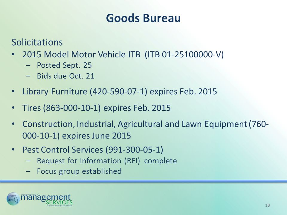 Goods Bureau Solicitations 2015 Model Motor Vehicle ITB (ITB 01-25100000-V) –Posted Sept.