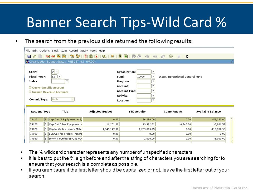 Banner Search Tips-Wild Card % The search from the previous slide returned the following results: Banner Search Tips The % wildcard character represen