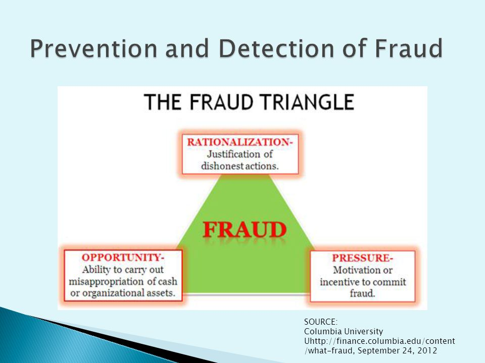 SOURCE: Columbia University Uhttp://finance.columbia.edu/content /what-fraud, September 24, 2012