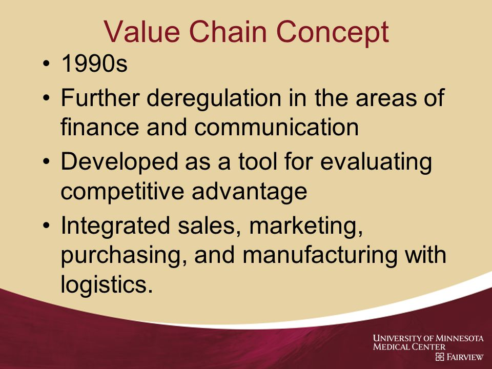 Value Chain Concept 1990s Further deregulation in the areas of finance and communication Developed as a tool for evaluating competitive advantage Integrated sales, marketing, purchasing, and manufacturing with logistics.