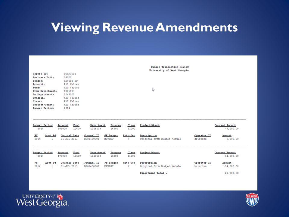 Viewing Revenue Amendments