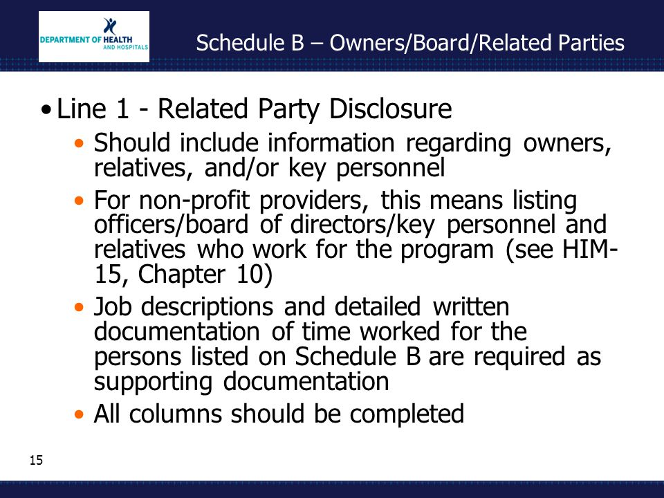 15 Schedule B – Owners/Board/Related Parties Line 1 - Related Party Disclosure Should include information regarding owners, relatives, and/or key personnel For non-profit providers, this means listing officers/board of directors/key personnel and relatives who work for the program (see HIM- 15, Chapter 10) Job descriptions and detailed written documentation of time worked for the persons listed on Schedule B are required as supporting documentation All columns should be completed