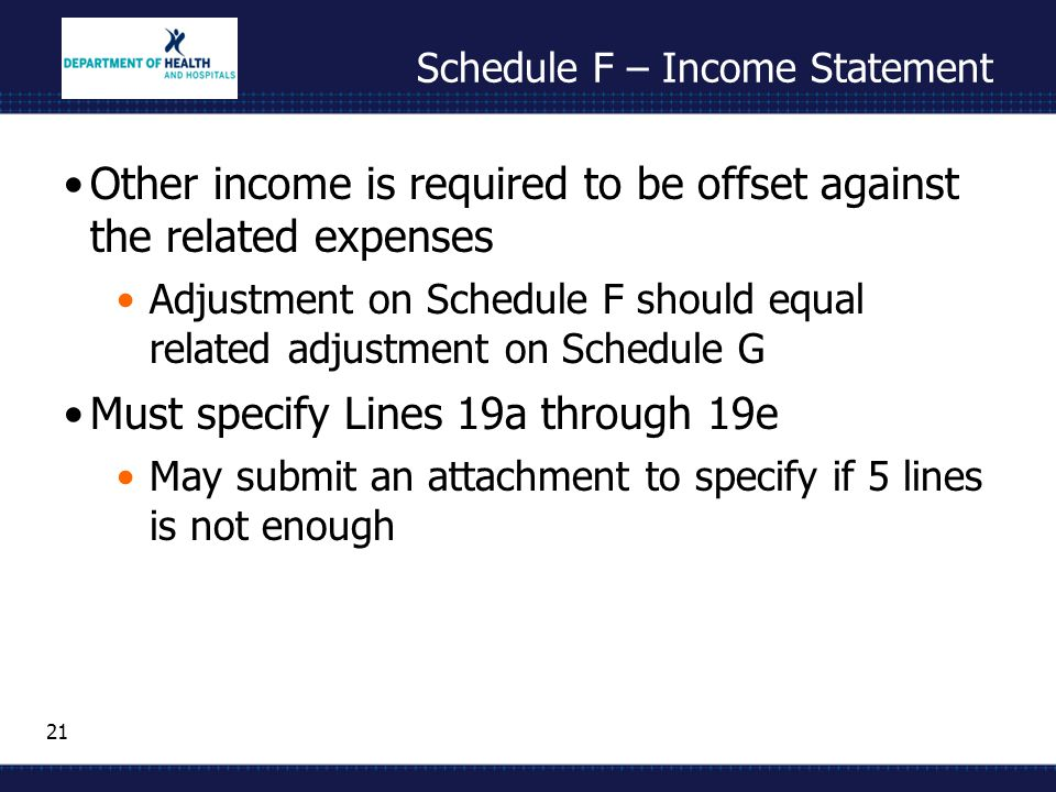 21 Schedule F – Income Statement Other income is required to be offset against the related expenses Adjustment on Schedule F should equal related adjustment on Schedule G Must specify Lines 19a through 19e May submit an attachment to specify if 5 lines is not enough