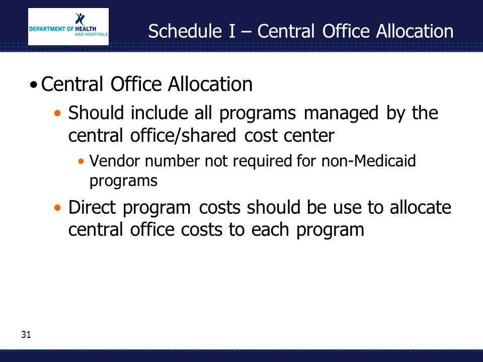 31 Schedule I – Central Office Allocation Central Office Allocation Should include all programs managed by the central office/shared cost center Vendor number not required for non-Medicaid programs Direct program costs should be use to allocate central office costs to each program