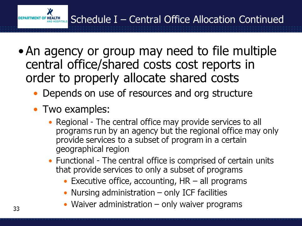 33 Schedule I – Central Office Allocation Continued An agency or group may need to file multiple central office/shared costs cost reports in order to properly allocate shared costs Depends on use of resources and org structure Two examples: Regional - The central office may provide services to all programs run by an agency but the regional office may only provide services to a subset of program in a certain geographical region Functional - The central office is comprised of certain units that provide services to only a subset of programs Executive office, accounting, HR – all programs Nursing administration – only ICF facilities Waiver administration – only waiver programs