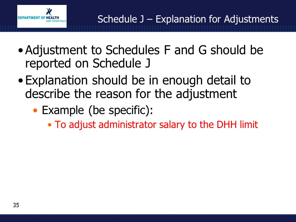 35 Schedule J – Explanation for Adjustments Adjustment to Schedules F and G should be reported on Schedule J Explanation should be in enough detail to