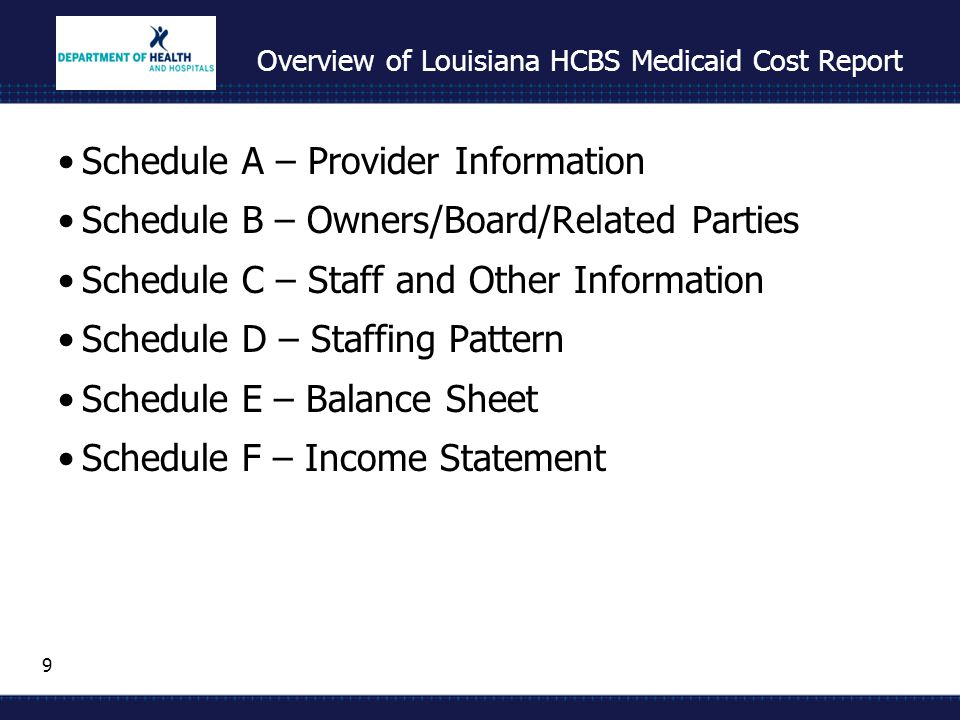 10 Overview of Louisiana HCBS Medicaid Cost Report Schedule G – Statistics & Expenses by Program Community Choice Waiver / Elderly and Disabled Adult Waiver Long Term – Personal Care Services Children's Choice Waiver Supports Waiver New Opportunities Waiver Residential Options Waiver Not included: Adult Day Health Care (ADHCs are already filing separate cost report)