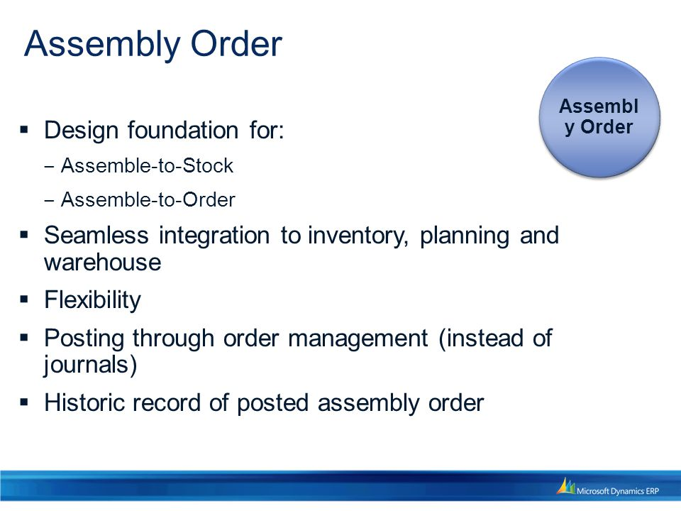  Design foundation for: ‒ Assemble-to-Stock ‒ Assemble-to-Order  Seamless integration to inventory, planning and warehouse  Flexibility  Posting through order management (instead of journals)  Historic record of posted assembly order Assembly Order