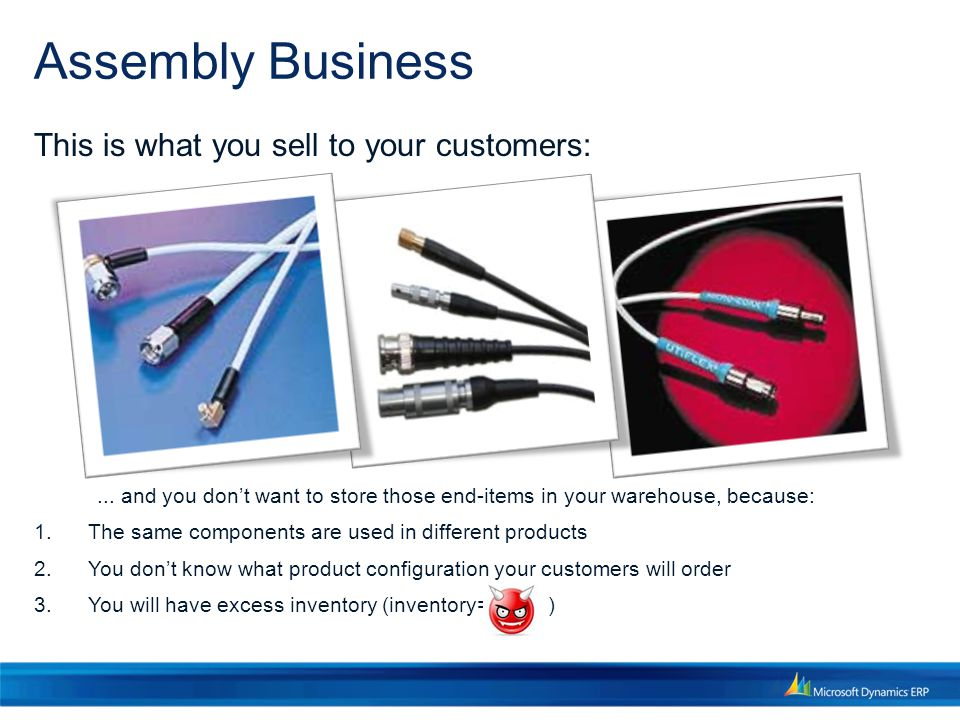 Assembly Business This is what you sell to your customers:...