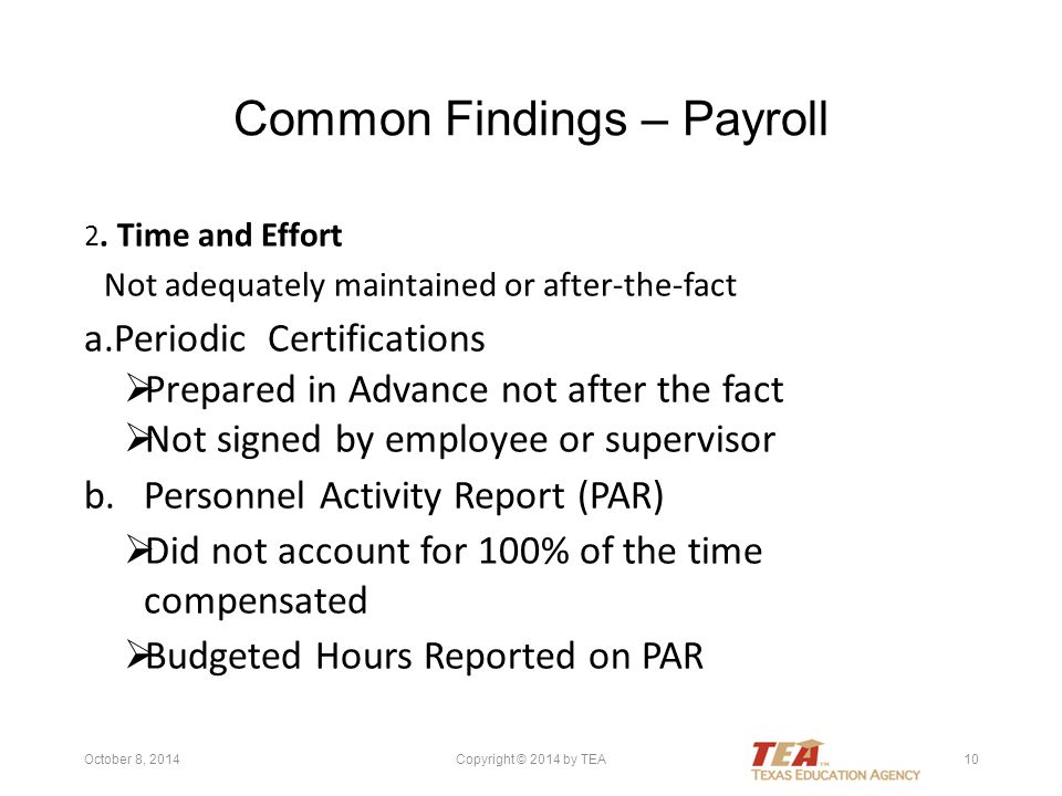 Common Findings – Payroll 2.
