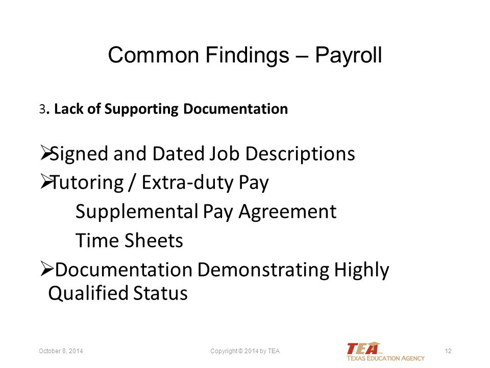 Common Findings – Payroll 3.