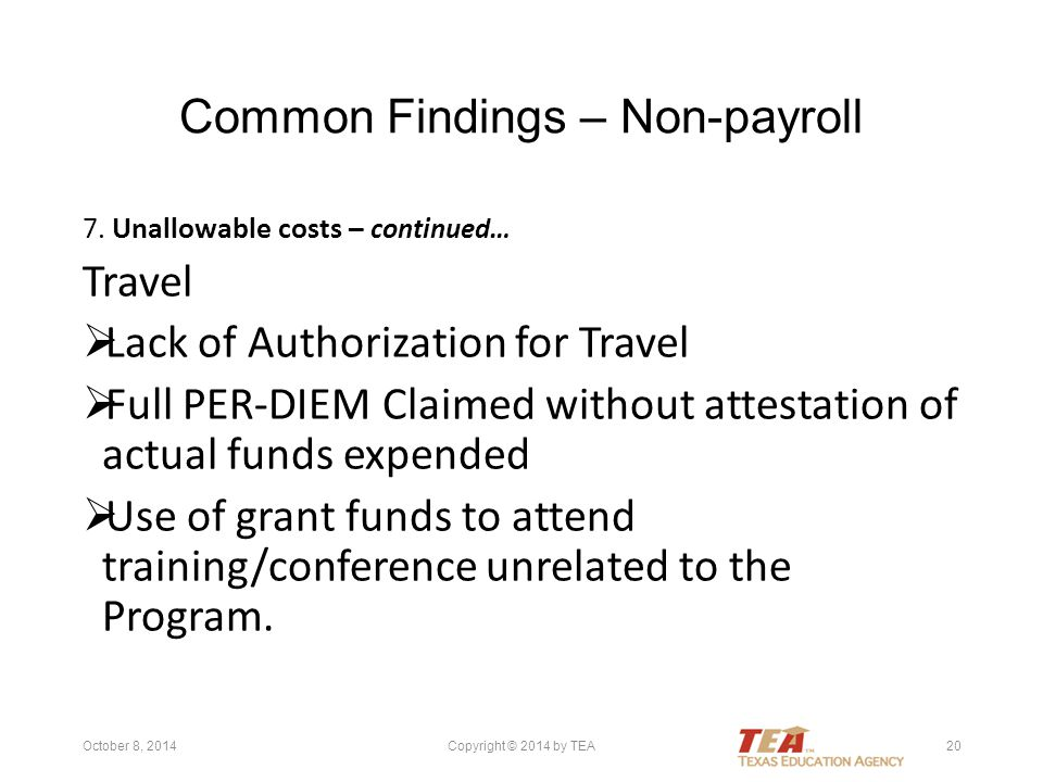 Common Findings – Non-payroll 7.