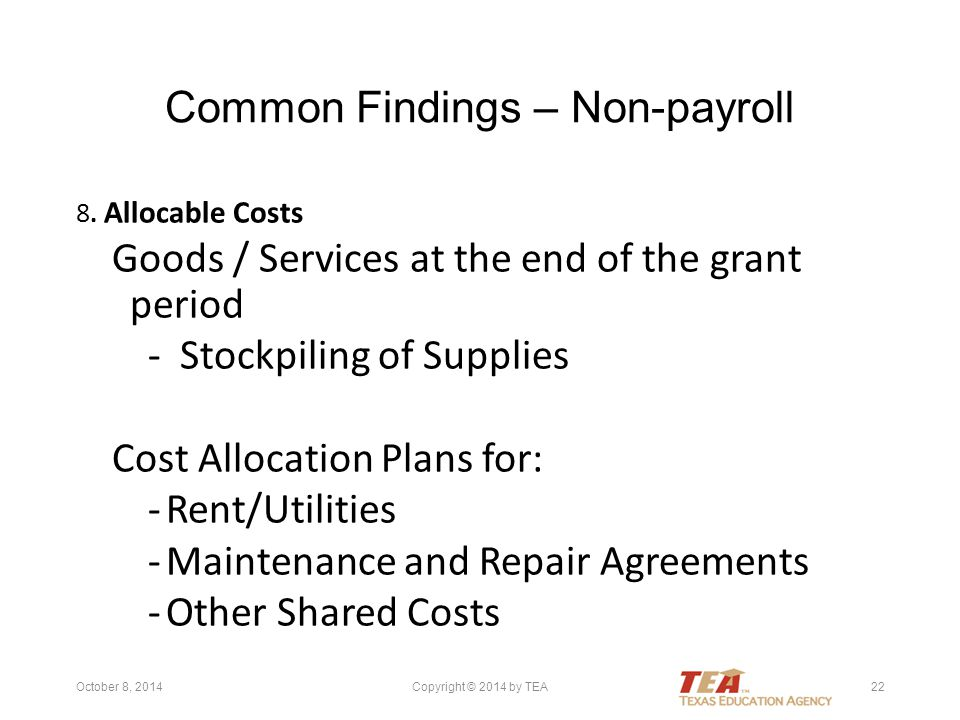 Common Findings – Non-payroll 8.