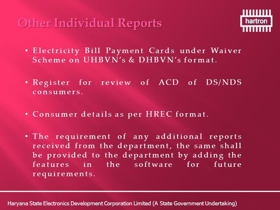 Electricity Bill Payment Cards under Waiver Scheme on UHBVN's & DHBVN's format.