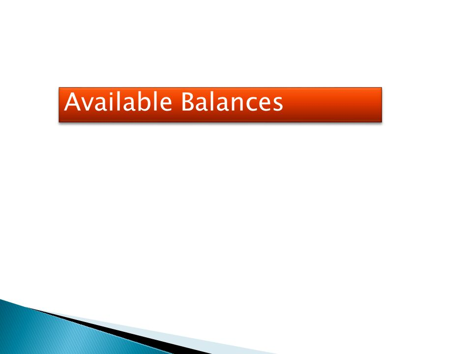 Available Balances