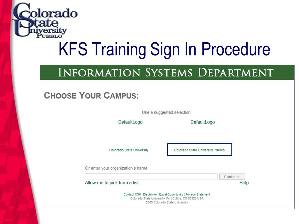 March 12, 2004 KFS Training Sign In Procedure