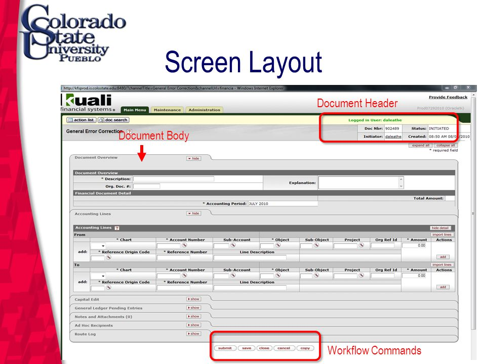 March 12, 2004 Screen Layout Document Header Document Body Workflow Commands