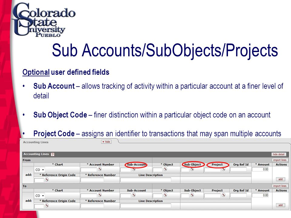 Sub Accounts/SubObjects/Projects Optional user defined fields Sub Account – allows tracking of activity within a particular account at a finer level of detail Sub Object Code – finer distinction within a particular object code on an account Project Code – assigns an identifier to transactions that may span multiple accounts