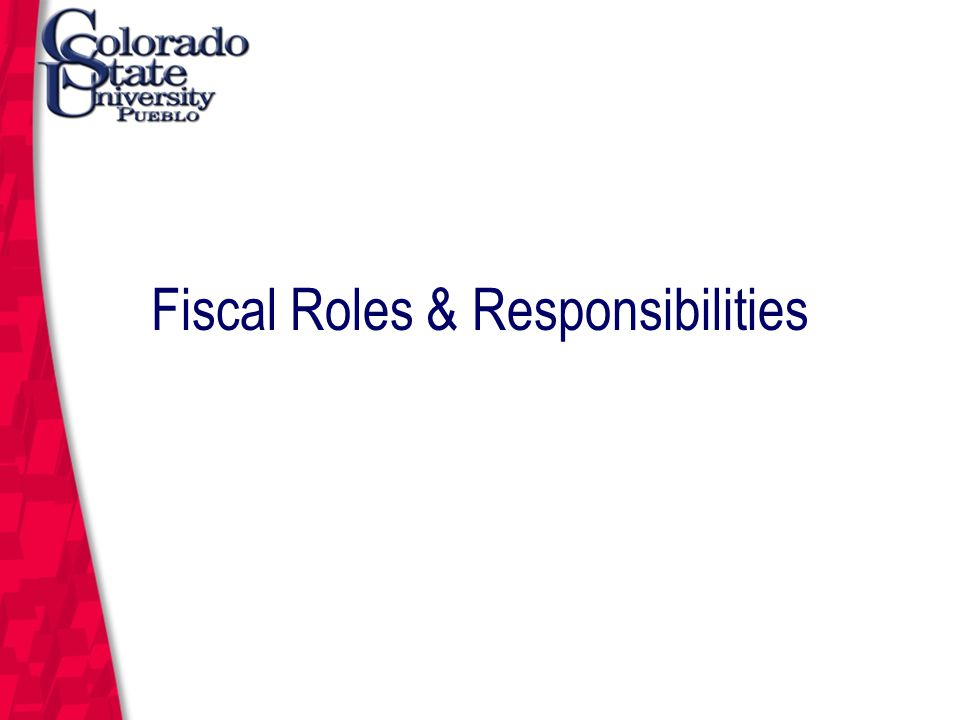 March 12, 2004 Fiscal Roles & Responsibilities