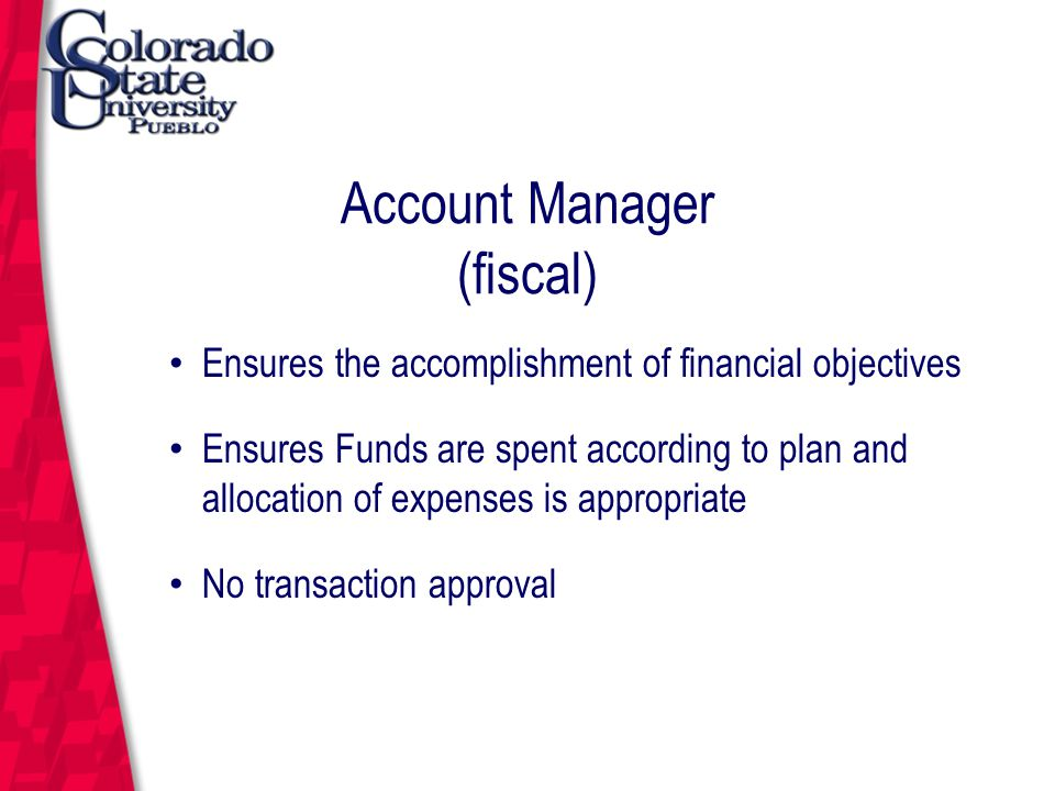March 12, 2004 Account Manager (fiscal) Ensures the accomplishment of financial objectives Ensures Funds are spent according to plan and allocation of expenses is appropriate No transaction approval