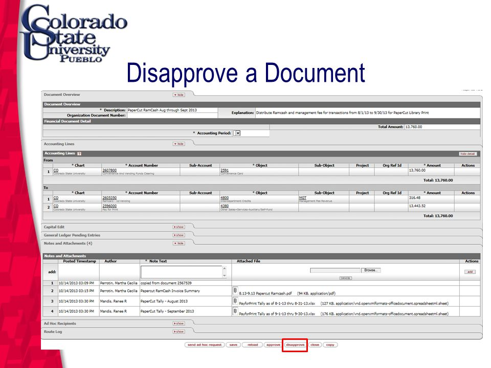 March 12, 2004 Disapprove a Document